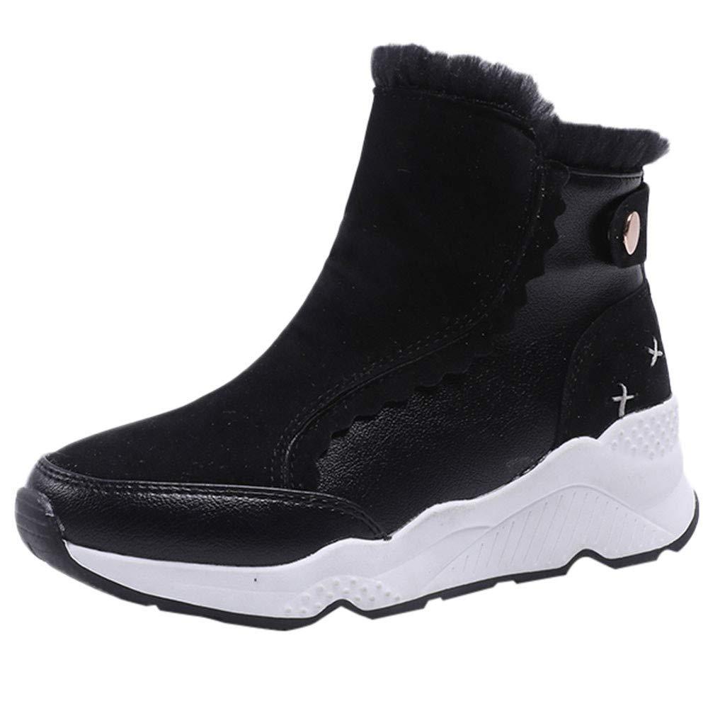 LuckyGirls Botas para Mujer Pelusa Patchwork Botines Moda Botas Casual Calzado Zapatillas de Suela Gruesa Zapatos 4cm