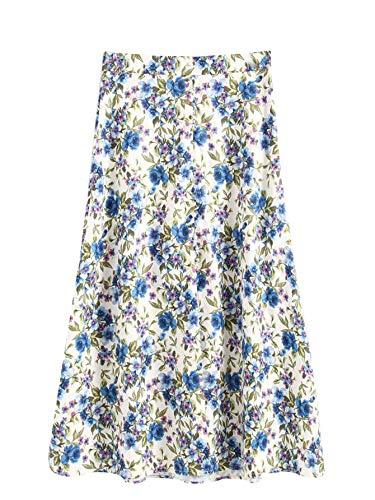 WDIRARA Women's Boho Floral Print A Line Mid Waist Long Maxi Skirt White S