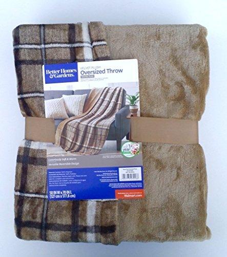 Beige And Brown Neutral Plaid Velvet Plush Oversized Throw Blanket 50 Inch X 70 Inch from Better Homes & Gardens