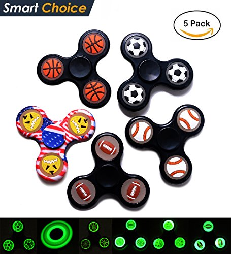 UPC 614631296222, 5pcs Noctilucent Finger Gyro Fidget coupons for Hand Spinner Toy Stress Reducer Ball Bearing Finger Spinner Hands Focus Toys [3D Figit] Perfect For ADD, ADHD, Anxiety, Autism Adult Children
