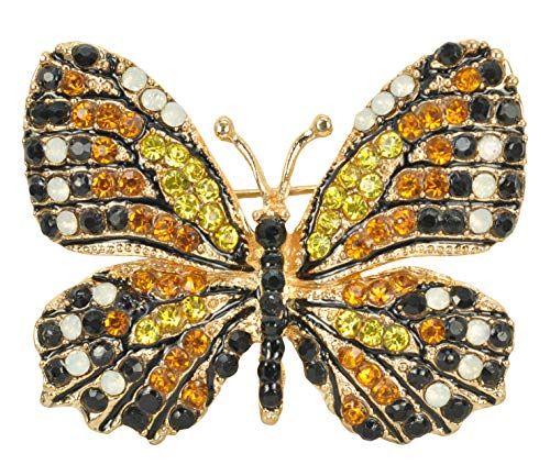 Gyn&Joy Womens Golden Tone Synthetic Topaz Colored Butterfly Crystal Rhinestone Brooch Pin BZ030TA
