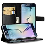 EasyAcc Case for Samsung Galaxy S6 Edge Leather Wallet Flip Bumper Cover Full Body Protector Folio Holster Case with kickstand Card Holder Compatible with Samsung Galaxy S6 Edge - Black