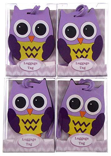Owl Luggage Tags Bundle of 4 - Owl Shaped Luggage Tags (Purple) (Shaped Luggage Tag)
