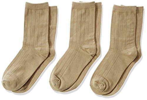 Jefferies Socks Boys' Big Three-Pack Rib Crew Socks, Khaki, Large