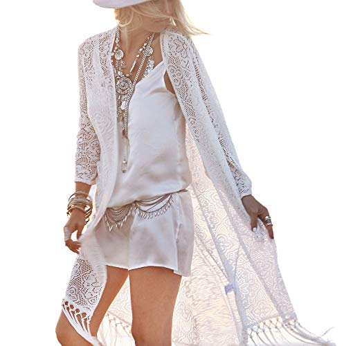 (Women's Lace Cardigan Kimono Cover up Mesh Net Crochet Open Front Dress White for)