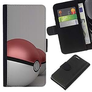 YiPhone /// Tirón de la caja Cartera de cuero con ranuras para tarjetas - P0Keball Dos - Apple Iphone 5C