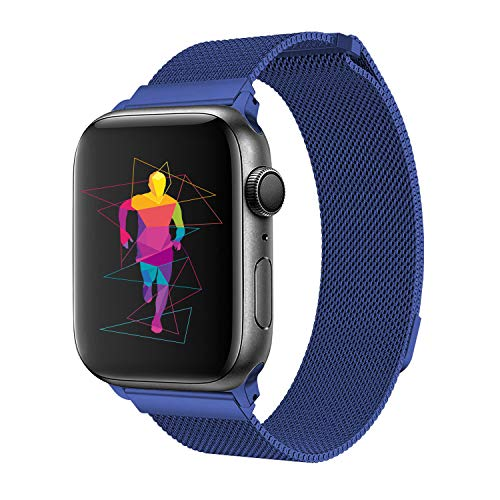 INTENY Band Compatible with Apple Watch 38mm 40mm, Milanese Sport Loop, Stainless Steel Mesh Strap, Compatible with iWatch Series 4, Series 3, Series 2, Series 1 (38MM 40MM, Blue)