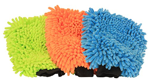 JeeJyeJoe Chenille Microfiber Mitt Cloth Blue Orange Green Deluxe Extra Large 3 Piece Cleaning Car Wash Dusting