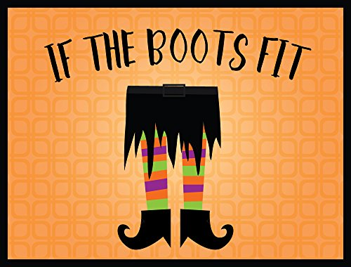 Halloween Decoration Front Door Welcome Mat - If the Boots Fit - 24 x 18 Inch (Ways To Celebrate Halloween At Work)