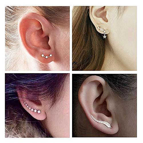 - 4 Pairs Leaf Ear Climber Cuff Earring for Women, Star Stud earrings, 7 Crystals Ear Cuffs Hoop Climber Earrings