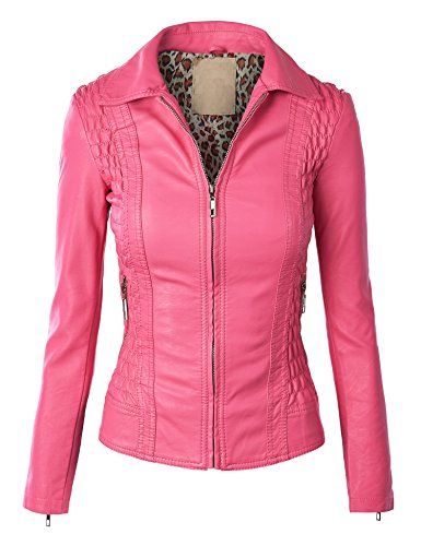 Made By Johnny WJC857 Womens Faux Leather Zip Up Moto Jacket XS Pink