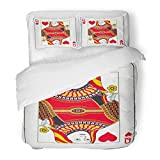 SanChic Duvet Cover Set Colorful Play Queen Hearts Playing Red Poker Deck Lady Vintage Decorative Bedding Set 2 Pillow Shams King Size