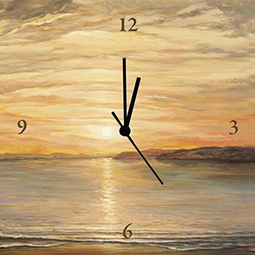 Artland Analoge Wand-Funk-oder Quarz-Uhr Digital-Druck Leinwand auf Holz-Rahmen gespannt mit Motiv Andres Abendsonne Landschaften Sonnenaufgang & -untergang Meer Malerei Ocker A1FS