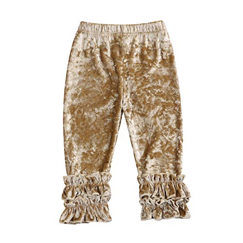 Toddler Baby Girls Clothes Ruffle Lace Leggings Flower Trousers Leggings Pants Outfits (Golden, 12-18 Months) ()