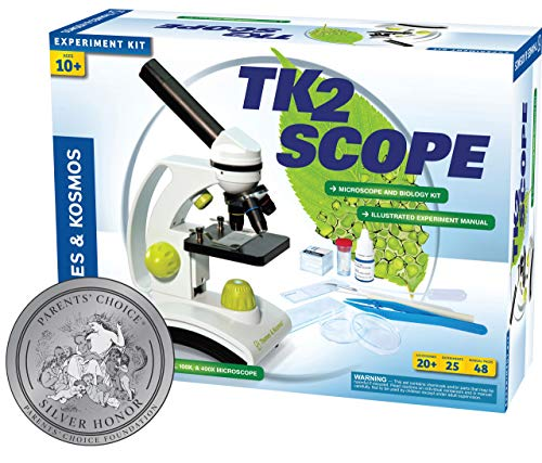 Thames & Kosmos TK2 Scope Biology and Durable Metal Microscope Set with Glass Optics, 25 Experiments and 48 Page Full Color Lab Manual, Professional Student Quality