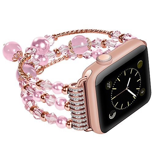 - For Apple Watch Band Stainless Steel Metal Bracelet Replacement iWatch Jewelry Wristband Bling Bands for Apple Watch Series 3, Series 2, Series 1, Sport and Edition 38mm Pearl Pink Small