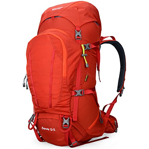 BOLANG Internal Frame Pack Hiking Daypack Outdoor Waterproof Travel Backpacks 8715 (Red, 55L)