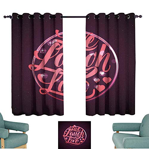 Mannwarehouse Live Laugh Love Decor Customized Curtains Vibrant Romantic Vintage Stamp Inspired Circle Popular Saying 70%-80% Light Shading, 2 Panels,55