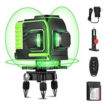 Image of AIRSEE Self-Leveling Laser Level, 3D Green Beam 3x360 Cross Rechargeable 12 Line Laser with Remote Control –Three Plane Leveling & Alignment Line Laser Level with Tripod Pivoting Base & Magnet Bracket Line Lasers