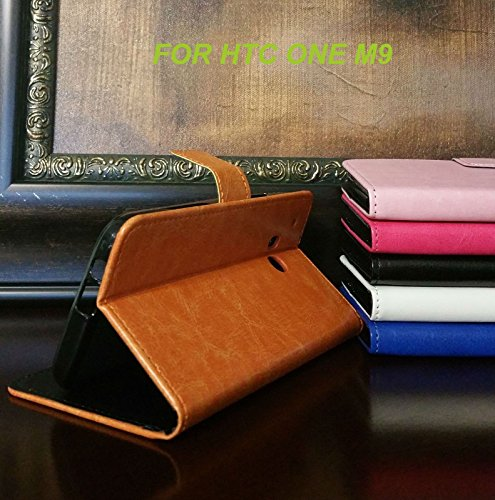 for HTC ONE M9 Luxury Flip Wallet Folio Leather Case Cover Stand (Brown)
