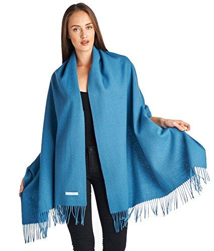 High Style 100% Lambswool Women Solid Oversized Large Scarf Shawl (Bluesteel)