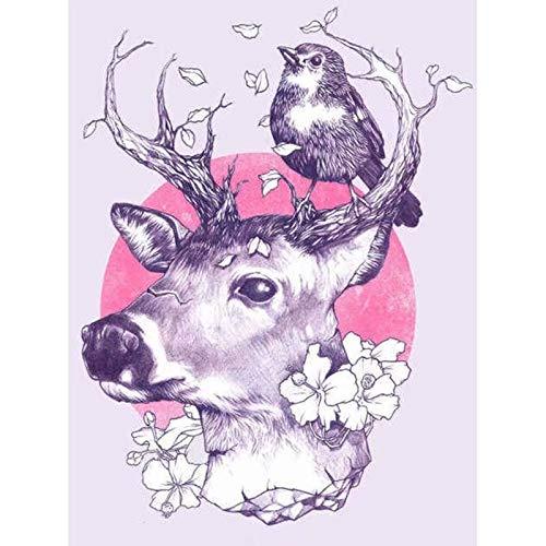 DIY Diamond Painting Deer Elk Bird Handcraft Sewing Art Embroidery Resin Stone Cross Stitch Mosaic Decoration 16x24 Inch