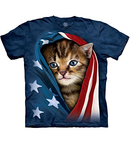 The Mountain Patriotic Kitten Adult T-Shirt, Blue, Large