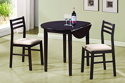 Coaster 3 Piece Dining Set Cappuccino (Round Dining Room Tables Sets)