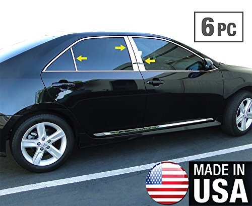 Made In USA! Works With 2012-2014 Toyota Camry 6PC Stainless Steel Chrome Pillar Post Trim (Toyota Camry Pillar)