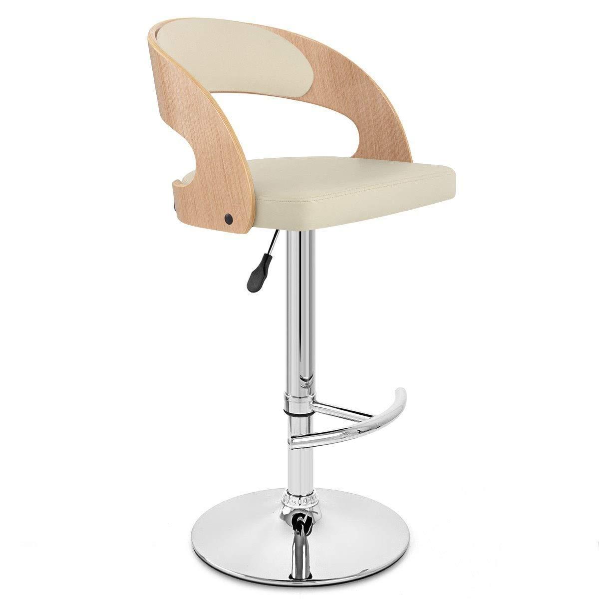 AO-stools Fashion Creative Bar Stool Lift Chair Rotating Bar Chair Solid Wood High Stool 108x41x80cm (Color : White)