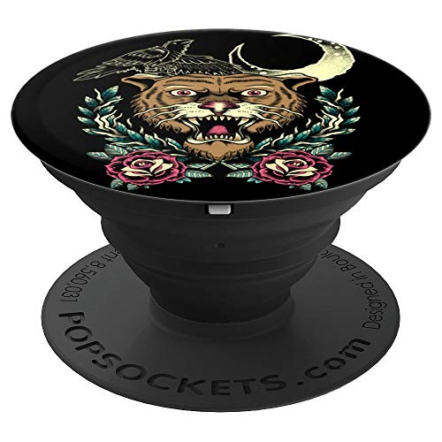 Fuzewear Old School Tattoo Tiger Black PopSockets Stand for Smartphones and Tablets  PopSockets Grip and Stand for Phones and Tablets