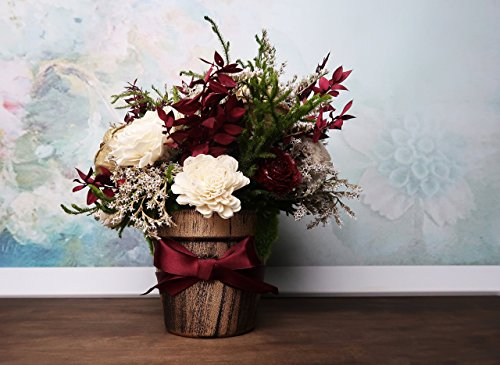 Wedding Table Centerpiece Made of Sola Flowers in Burgundy Gold and Green ()