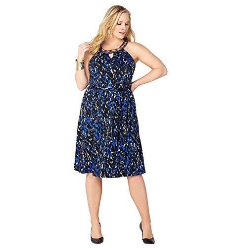 AVENUE Women's Animal Necklace Dress, 14/16 Blue Print