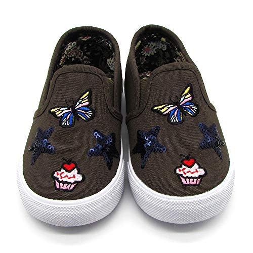 Nicole Miller New York Toddler Girls Slip-On Shoes Light Weight, Casual Walking and Running Shoes- Olive Size 10 5 Years