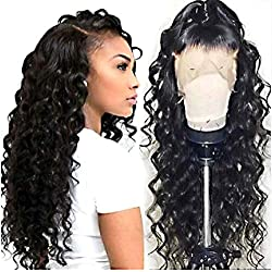 360 Lace Frontal Wave Human Hair Wigs 150% Density Brazilian Loose Wave Wig with Baby for Black Women Natural Color 20 inch