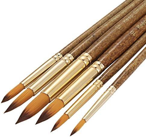 [スポンサー プロダクト]画材筆 ペイント ブラシ アクリル筆 水彩筆 油絵筆 画筆 丸筆 平型筆 平型円頭筆 短毛筆 模型 6