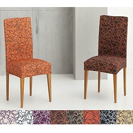 Pack de 2 Fundas para Silla con Respaldo Modelo Tramontana, Color Naranja-Marrón, Medida Asiento 45-55cm, Respaldo 40-50cm