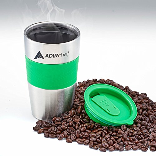 AdirChef 15 oz go Mug For Grab N Go private caffeine Maker Green Commuter go Mugs