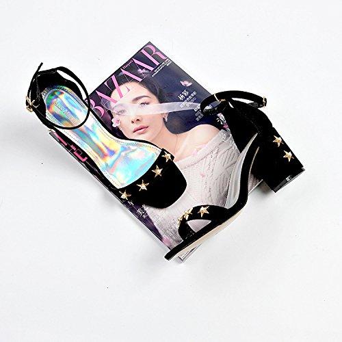 Femmes Talons Hauts Satine 34 Noir Boucle toile Chaussures Femme Talons Gras Avec XOaZqC