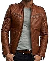 Iftekhar Men's Pure Leather Jacket - tan - (Iftekhar16)