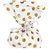Gold Polka Dot Cellophane Bags, Pack of 60 Goodie Treat Bags for Birthday Anniversary Graduation Wedding Bridal and Baby Shower Party Favor Decor By Gift Boutique