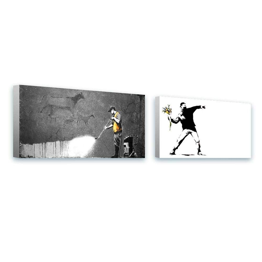 Alonline Art - Flower Thrower Cave by Banksy | Framed Stretched Canvas on a Ready to Hang Frame - 100% Cotton - Gallery Wrapped | 32''x16'' - 81x41cm | Set of 2 Lot | Wall Art Home Decor HD Painting