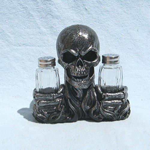 Flaming Hot Flavor Skull Salt and Pepper Shaker Holder Figurine