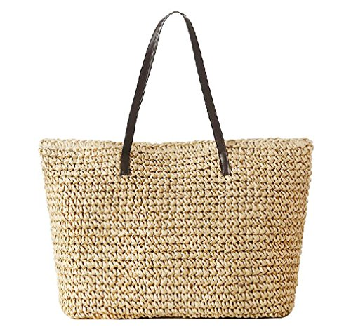Hoxis Weekender Oversize Beach Straw Rattan Woven Braid Faux Leather Deco Tote Women Shoulder Handbag (Khaki) (Straw Purse Tote)