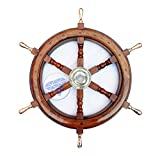 Deluxe Nautical Heavy Brass Handle Ship Wheel | Wall Hanging | Numerals | Vintage Gift | Nagina International (30 Inches)
