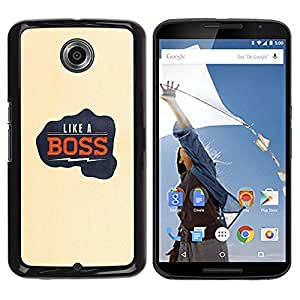 Be Good Phone Accessory // Dura Cáscara cubierta Protectora Caso Carcasa Funda de Protección para Motorola NEXUS 6 / X / Moto X Pro // Like A Boss Electric Quote Fist Punch Yellow