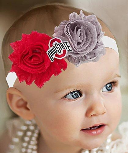 Future Tailgater Ohio State Buckeyes Baby/Toddler Shabby Flower Headband - Team Colors (Newborn - 3 Months/ 13