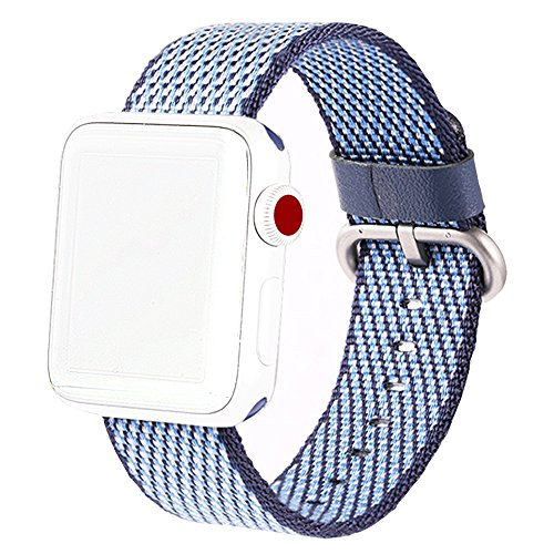 MXY Band For Apple Watch Series 3 2 1 2017 Newest Fine Woven Nylon Watch Band Strap Replacement Wrist (38mm-Midnight Blue - Las La Band Ah