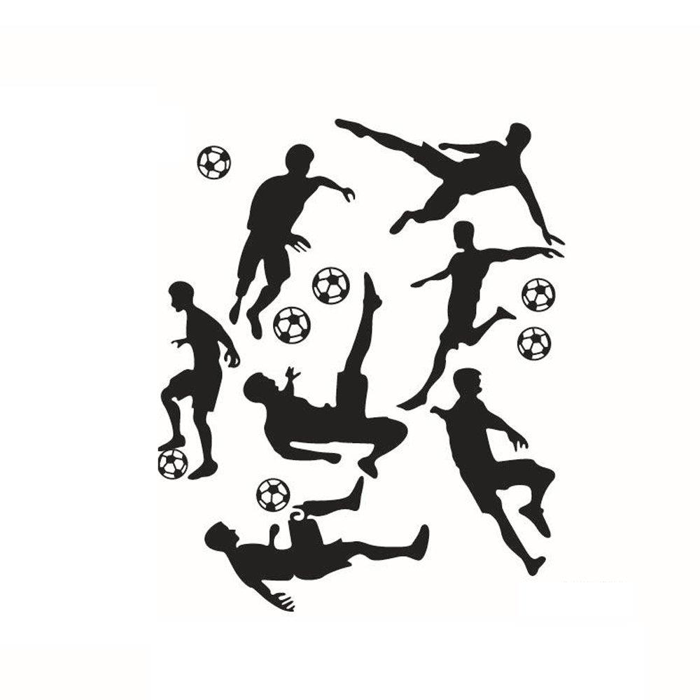 Nicedeal Adesivi Murali Play Football Stickers Neri Calcio Muri in Camera da letto Dormitorio e Soggiorno Decorazione Amovibile Art Parete 57 * 69cm Atmosfera di casa deco