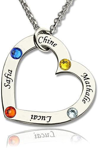Damofy Personalized Infinity Symbol Necklace Carving Name Heart Shape Gemstone Necklace